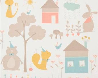 215090 light cream brushed cotton with cute cat rabbit bear house fabric Moda Fabrics