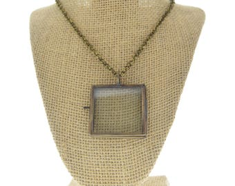 Locket Necklace brass square -Our Glass Frame Pendant, with chain , sold by each
