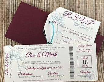 Puerto Vallarta boarding pass save the date. Mexico wedding invitation. Orchid wedding invitations