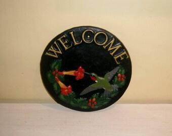 WELCOME Sign Hummingbird Garden Door House Home Decor Vintage Metal Yard Art