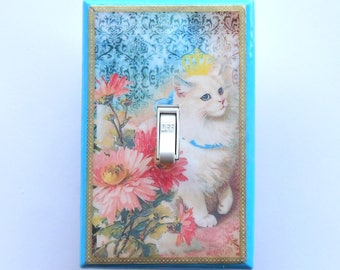 Cat light switch covers- MATCHING SCREWS- Cat posters Steinlein cats vintage cat poster cat collectibles cat light switch covers Siamese cat