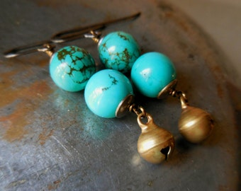 Rustic turquoise drop earrings, turquoise earrings with bell, natural blue green long dangle brass bronze gipsy festive summer jewelry beach