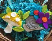 Woodland Theme Statement Necklace / Boho Necklace / Felt Mushroom and Snail Necklace, Easter gift!