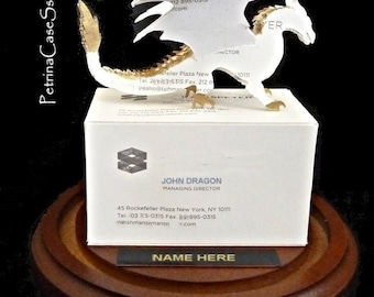 Dragon Business Card Sculpture  -Design 1495 or 1496 Upright- Secured under Glass dome to a wood base