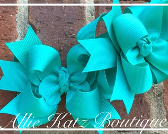 "4.5"" Piggie pigtail hair bow set OTT solid layered bows Teal"