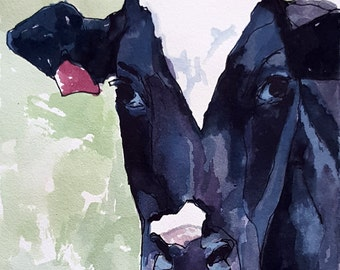 Cow Portrait original watercolor painting Cow art Cow painting Holstein cow watercolor painting Black and white cow painting Cow art