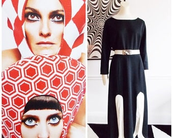 1960's Mod black white long Dress by Elegant Miss of California /60s evening maxi dress