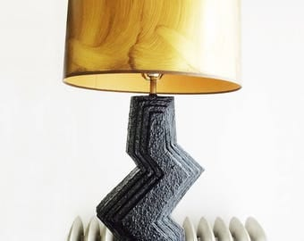 SPECIAL OFFER-large vintage 1970s black ceramic zig zag lamp /70s floor table lamp with gold shade/ mid century lamp/ hollywood Regency lamp