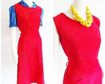 1950s red corduroy Dress / Mid Century sleeveless dress/ fifties summer dress/ 1940s red dress/ pin up dress