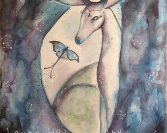 The High Priestess Original watercolor 11x14on stretched canvas