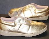 Propet Leather Shoes Funwalker Vintage Sneakers Gold