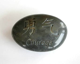 Courage Chinese Symbol Engraved Black Stone Ocean Polished Stone