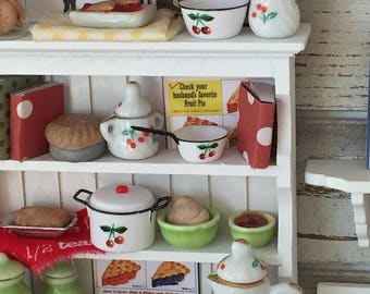 Miniature White  China Hutch Filled with Cherry Accessories and Baked Goods - 1:12 Dollhouse Scale