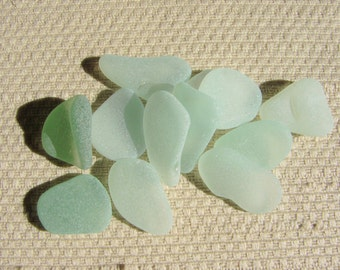 12 Rich and Pastel Sea foam Blue Green Seaglass Treasures (1938) Pendant/Charm Mediterranean Sea Glass, Blue Green Beach Glass