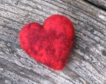 Felted heart in marbled red wool