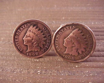 1908 Indian Head Penny Cuff Links