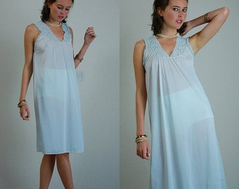 sale 25% rainy days sale Lace Nightgown Vintage 70s Pale Blue Sheer Lace Nightgown Slip Dress (s m l)