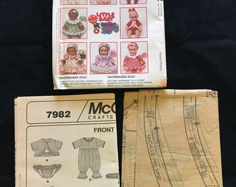 Vintage McCall's Crafts Pattern 7982 Waterbabies Doll Clothes, Uncut