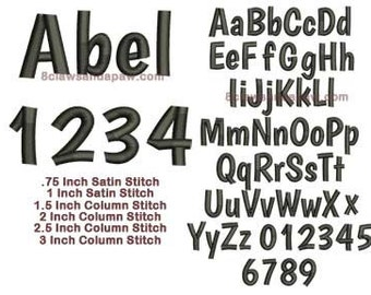 Abel Embroidery Font Includes 6 Sizes