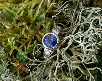 Blue Sapphire Ring, Right Hand Ring/Alternative E Ring, Handforged 18k White Gold Ring, Band and Basket Carved with Roses, Ready to Ship