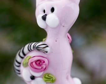 Glynnis.... lampwork kitty cat  bead..... sra