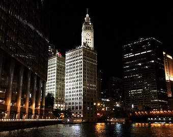 Wrigley Building and Chicago River at Night Original Color Photograph Home Decor Gift