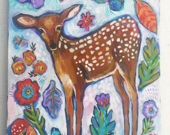 Woodland Deer Acrylic Painting on Canvas