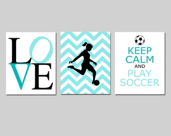 Girls Soccer Decor Girl Soccer Art Bedroom Decor Soccer Wall