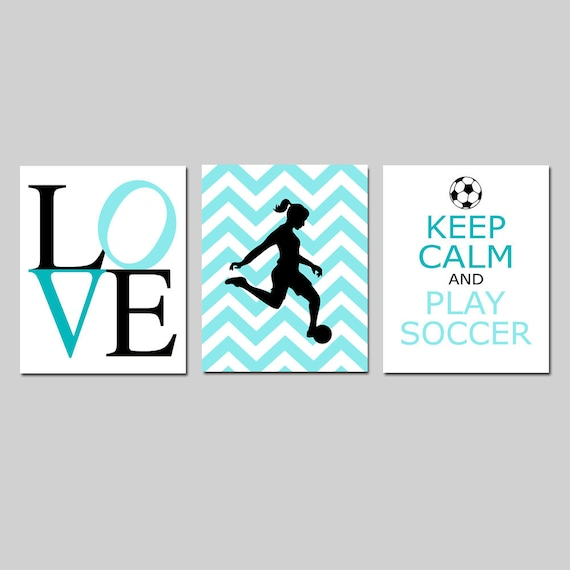 Soccer Art Girl Bedroom Decor Soccer Wall Art Girl Set Of 3
