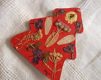 "CHRISTMAS TREE Shape ORNAMENT Pressed Cosmos Larkspur Spirea Hoya Buttercup Flowers, Handmade Pretty, Red Paper Covered Die Cut Wood, 4"" h"