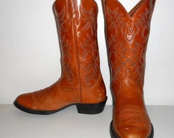 Mens 8 D Ariat Cowboy Boots Caramel Tan Western Work Shoes Blue Womens 9.5