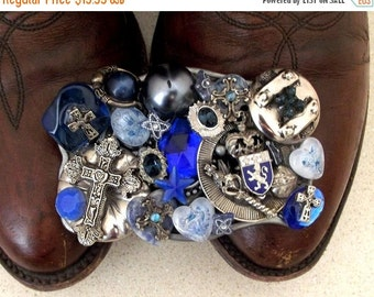 ON SALE Very funky Vintage Upcycled Belt buckle with blue beads and crosses