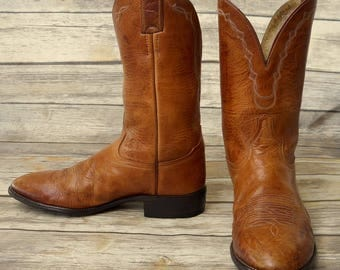 Tony Lama Cowboy Boots Mens Size 10 D Tan Brown Leather Country Western Shoes