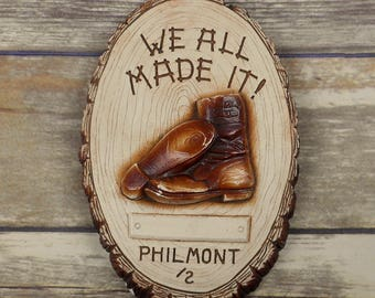 Boy Scout Ranch Plaque Philmont We All Made It Wood Log Slice Boots Vintage