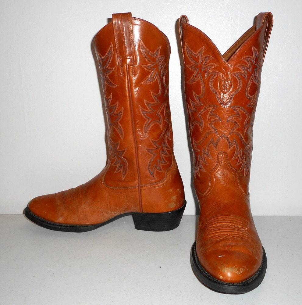 Mens 8 D Ariat Cowboy Boots Caramel Tan Western Work Shoes