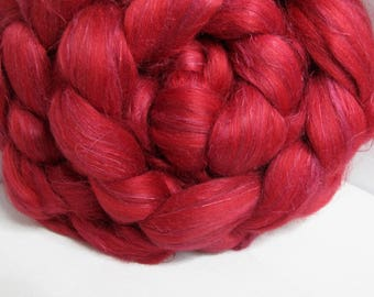 SALE Flax/BFL/Mulberry Silk 33/33/33 Combed Top - 5oz - Red Roses