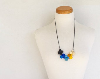 Resin bead all new style bubble ball bib necklace black blue yellow cream for her