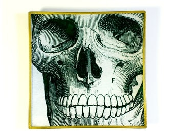 Skull square decoupage glass tray