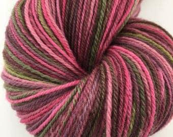 """Handspun Sock Yarn """"Garden Trellis"""" 405 yds finn wool"""