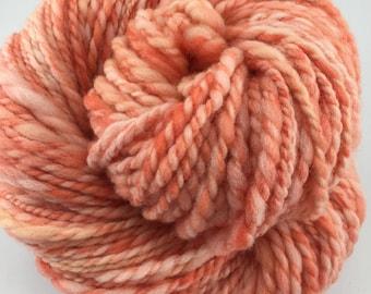 "Handspun Yarn Bulky Thick-Thin Art Yarn ""Peaches And Cream"" 100 yds."