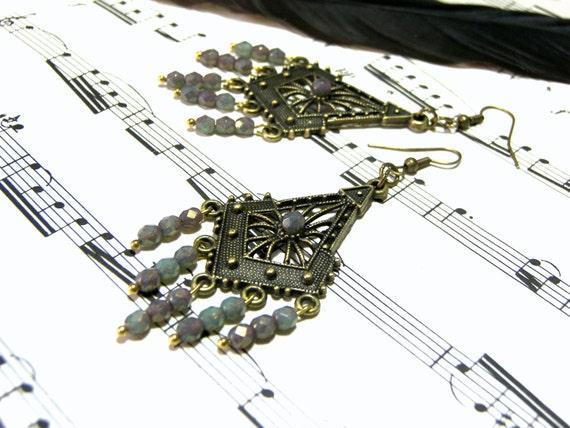 Czech Beaded Chandelier Earrings  Beaded Earrings Boho Chic Hippie Long Brass Earrings Gift for Women