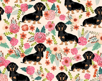 Doxie Flowers Florals Dachshund Fabric By Petfriendly - Dog Cotton fabric by the yard with Spoonflower
