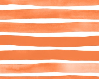 Watercolor Stripes Fabric - Orange Watercolor Stripes By Friztin - Modern Watercolor Striped Cotton Fabric By The Yard With Spoonflower