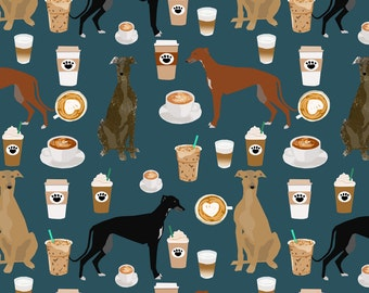 Navy Blue Coffee Dog Fabric - Greyhound Cute Coffee Latte By Petfriendly - Cotton Fabric By The Yard With Spoonflower