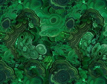 Green Marble Stone Fabric - Malachite 2 - Upscale 1.5 By Ravynka - Cotton Fabric By The Yard With Spoonflower