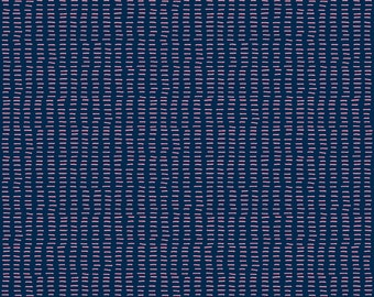 Pink + Navy Stitch Fabric - Carthusian Pink Stitches On Blue By Marketa Stengl - Baby Girl Pink Cotton Fabric By The Yard With Spoonflower