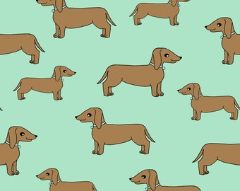 Dachshund Fabric by the Yard - Doxie // Mint Dogs Fabric By Andrea Lauren - Mind Dachshund Dog Cotton Fabric by the Yard With Spoonflower