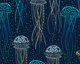 Abstract Jellyfish Fabric - Jellyfish By Juliabadeeva - Jellyfish Deep Under the Sea Creature Cotton Fabric By The Yard With SpoonflowerAb
