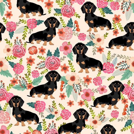 Doxie flowers florals dachshund fabric by petfriendly dog for Cute baby fabric prints