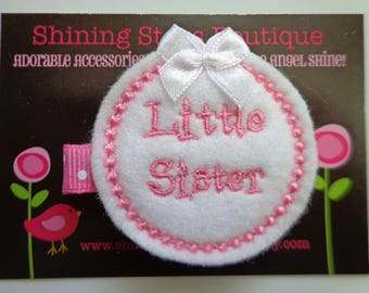 Hair Accessories - Felt Hair Clips - White And Pink Embroidered Felt Little Sister Hair Clippie For Girls - Sibling Bows